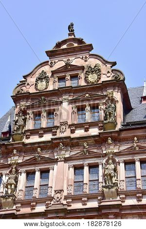 The beautiful Heidelberg Castle in Germany with a blue sky