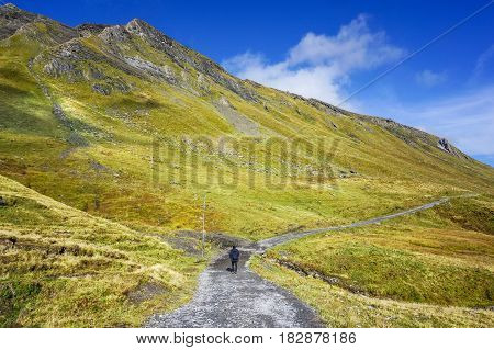 view of stone walk way to alp mountain with man hiking green yellow grass and clear blue sky autumn
