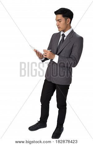 Young Asian Startup Entrepreneur Businessman Wearing Gray Suit Using  Digital Tablet Touchpad With T