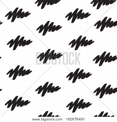 Vector black brush strokes seamless pattern on the white background