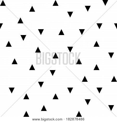 Vector black random triangles seamless pattern on the white background