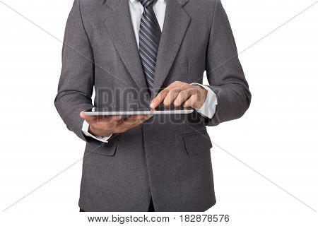 Young Asian Startup Entrepreneur Businessman Wearing Gray Suit Working With Digital Tablet Touchpad