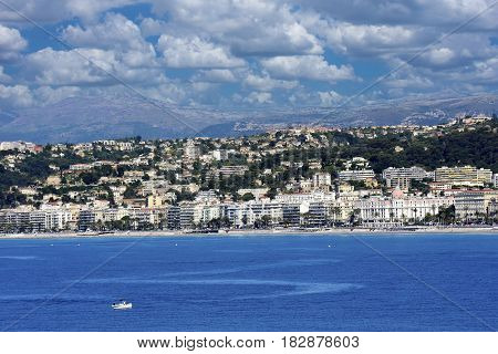 View of Nice France from the water.