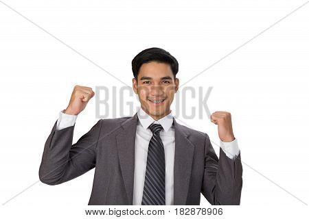 Young Asian Man Startup Entrepreneur Businessman Raise His Hands With Happiness On White Background