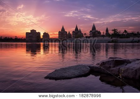 View of Royal cenotaphs of Orchha over Betwa river. Orchha, Madhya Pradesh, India.
