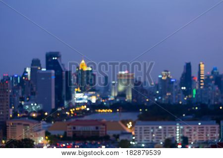 Bangkok city blurred bokeh light central business downtown abstract background