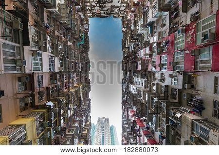 Hong Kong city apartment under view cityscape background