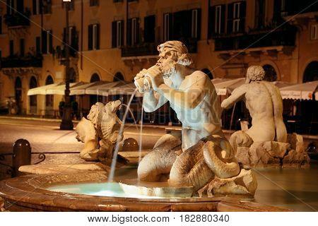 Fontana del Moro in Piazza Navona in Rome, Italy