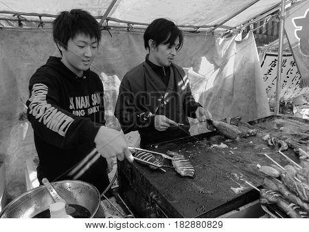 Vendors Selling Street Foods In Nikko, Japan
