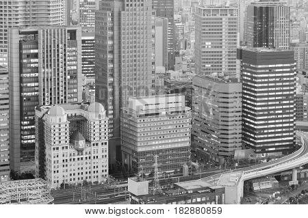 City central business downtown office building Osaka Japan black and white tone