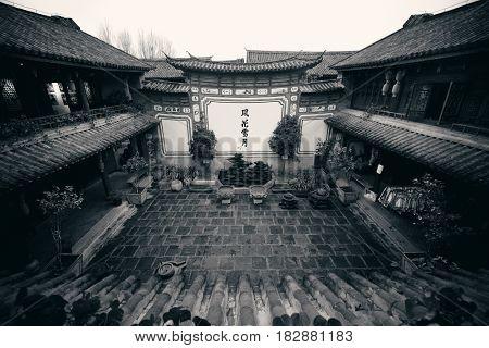 Local Bai style courtyard in Dali old town. Yunnan, China.
