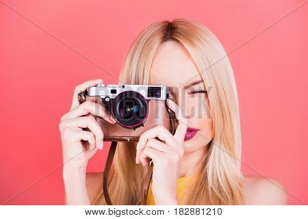 Pretty Girl Reporter With Retro Camera