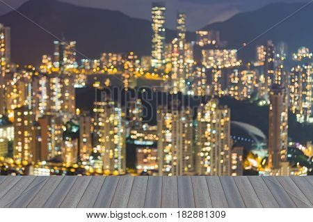 Opeing wooden floor Aerial view blurred bokeh ligh Hong Kong residence area abstract background