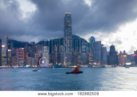 Hong Kong blurred bokeh light central business downtown abstract background