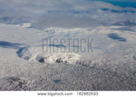 Top view Iceland winter season landscape aerial view