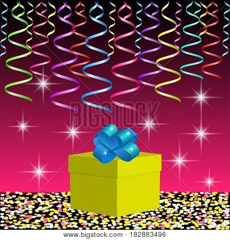 Gift box and bright ribbons on the background with spangles and flashes. Image for holiday party or celebration. Vector illustration EPS10