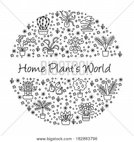 House Plants Concept For Garden Center, Flower & Florist Shop. Vector Round Illustration From Symbol