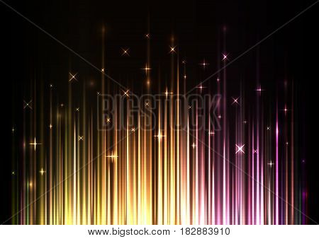 sparkling light stream from under template, speed laser from bottom, technology background, glowing line abstract background, vector illustration