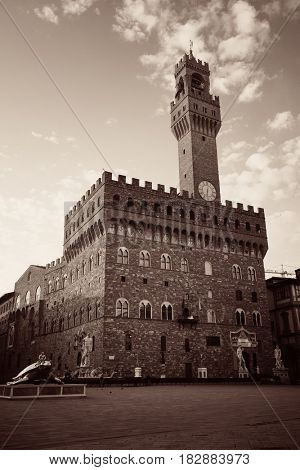 Bell tower in Palazzo Vecchio in Florence Italy in black and white
