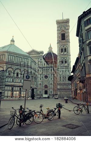 Duomo Santa Maria Del Fiore in Florence Italy closeup street view.