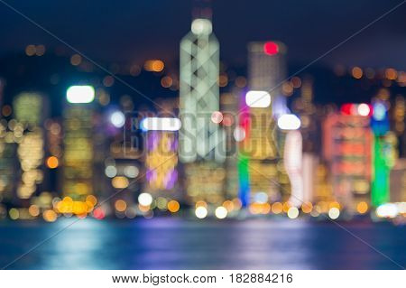 Night blurred bokeh light Hong Kong central business downtow abstrat background