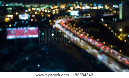 Night blurred bokeh light city road night view abstract background