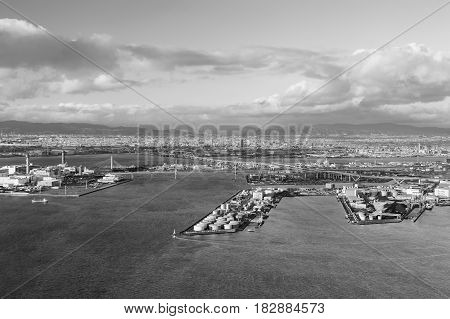 Black and White Osaka port cityscape from Cosmo Tower Observatory Japan