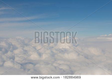 White soft cloud over blue skyline background nautral landscape