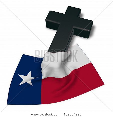 christian cross and flag of texas - 3d rendering