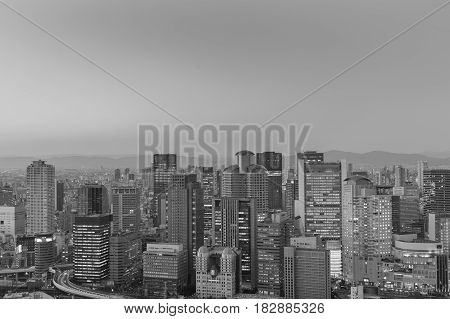 Black and White Office building central business downtown Osaka Japan
