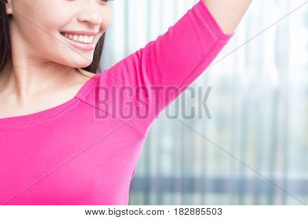 asia beauty woman with body odor problem
