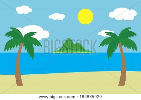 View of a tropical sandy beach with two green palm trees on the sea shore with an island with hills and mountains covered with grass and palm trees under a summer blue sky with clouds and glowing sun - vector
