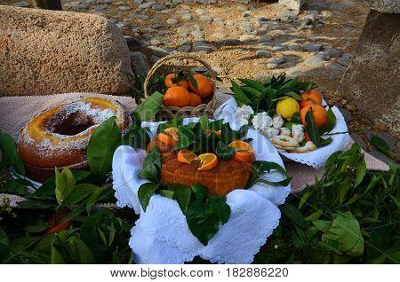A Home made whole testy orange cake