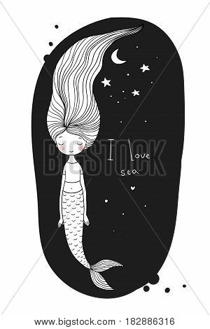 Beautiful cute cartoon mermaid with long hair. Siren. Sea theme. isolated objects on white background. Vector illustration.
