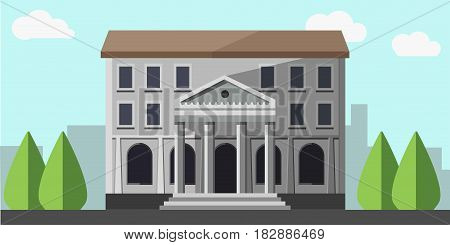 Bank grey building vector isolated near green trees with blue sky on background. Colorful illustration in flat design of construction with columns for money keeping and getting. Banking concept