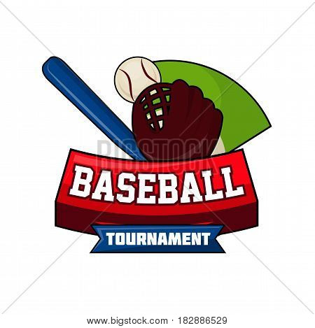 Baseball tournament logo design with ball, blue bat and brown leather glove on background of green field vector illustration isolated on white. Bat-and-ball game logotype in flat style with text