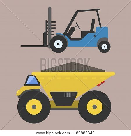 Delivery truck transportation construction vehicle and road machine equipment. Dumper business truck cargo sand container large platform industrial car vector illustration.