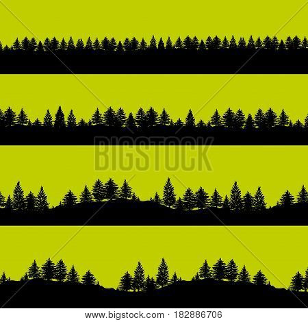 Coniferous forest trees silhouettes background vector illustration. Horizontal abstract banners of wood covered hills in black over green.