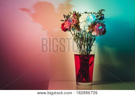 flowers just starting to wilt in a tall transparent vase and red water on a white surface and in front of a white wall.