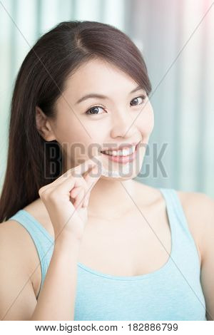 beauty woman smile happily with invisible braces