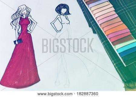 Skatchbook for costume fashion designer collection