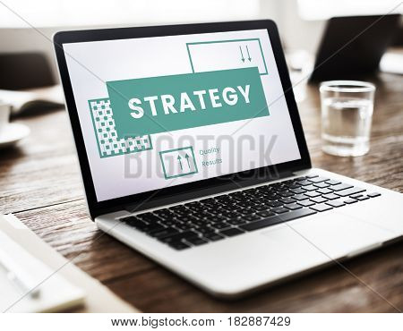 Business strategy plan management on laptop