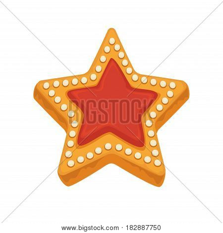 Star shape biscuit with colorful caramel inside and framed by sugar dots isolated on white. Tasty cracker vector illustration, fresh pastry in flat design. Patisserie cookies confectionery