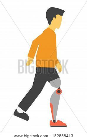 Disabled man with bionic artificial leg vector illustration isolated on white. Male human with prosthesis limb in flat design cartoon style, disability concept, amputee foot handicapped person