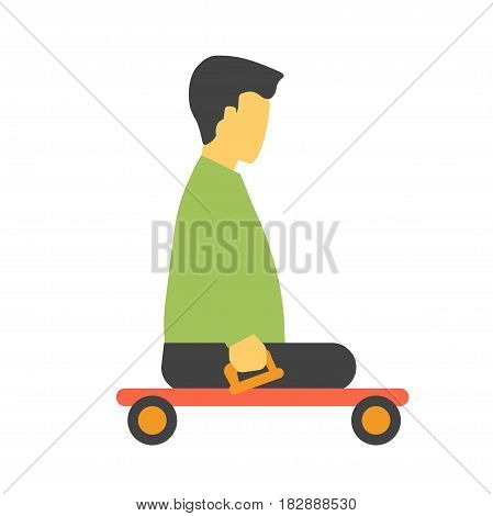 Transport trolley for disabled footless person isolated on white vector illustration. Incapacitated faceless person on wheelchair platform truck. Male on transportation item for disabled people