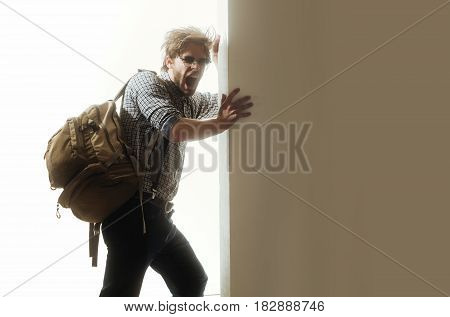 Yawning Man Or Traveler With With Backpack
