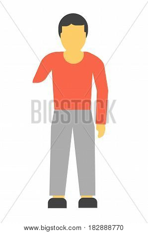 Amputee faceless person without hand vector illustration isolated on white. Disabled limb man patient with amputated arm in flat design cartoon style, incapacitated handicapped male character