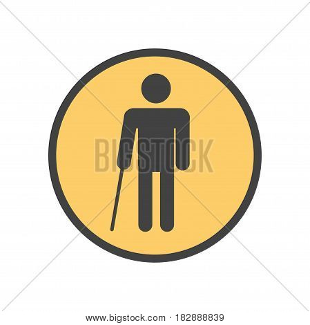 Vector illustration of a sign meaning blind person standing with a stick.