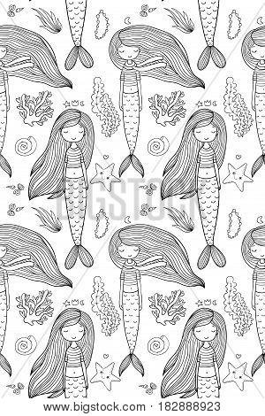Pattern with cute little mermaid. Siren. Sea theme. Vector illustration for children design.