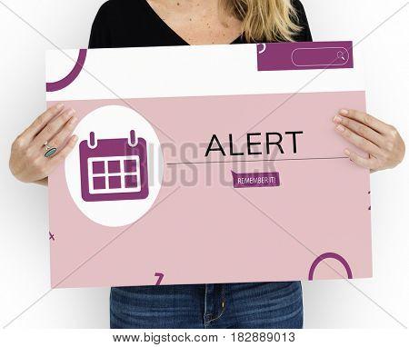Woman holding banner of personal organizer reminder calendar illustration